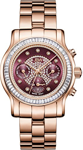 (JBW Luxury Women's Laurel Diamond & Crystal Wrist Watch with Stainless Steel Link Bracelet)