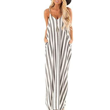 594ad684357 Summer Dress Sale! Women's Casual Striped V-Neck Loose Beach Cover-Up Long