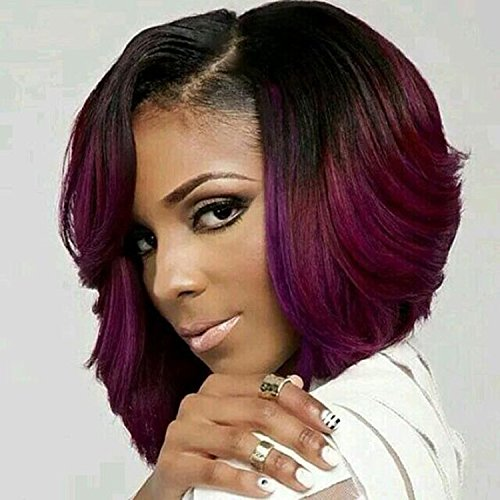 Netgo Bob Wig Red Ombre Short Wavy Synthetic - Black Realistic Wigs