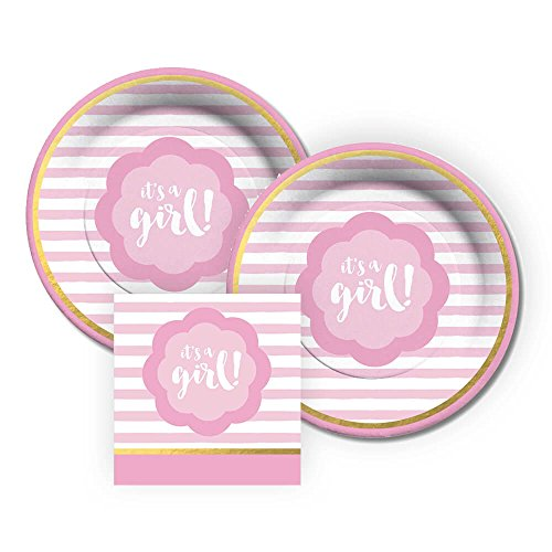 CR Gibson It's A Girl! Dessert Paper Plates and Beverage Napkins, Bundle- 3 -
