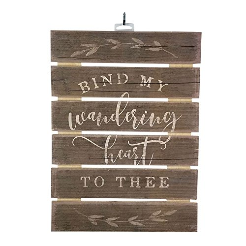 """- Imprints Plus Bind My Wandering Heart to Thee Inspirational Reclaimed Wood Sign, 12"""" x 16.25"""" Rustic Wall Decor Plaque with Hangers Bundle 12600012"""