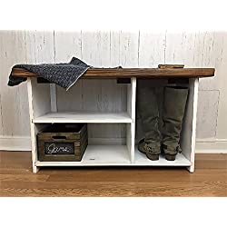 Entryway Bench with Shoe Storage- Rustic, Farmhouse Decor