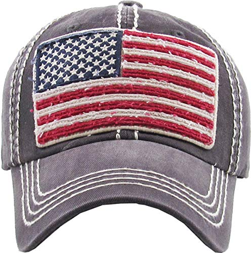 MIRMARU Women's Baseball Cap Distressed Vintage Unconstructed Washed Cotton Embroidered Adjustable Hat (Vintage USA Flag - Dark Grey)