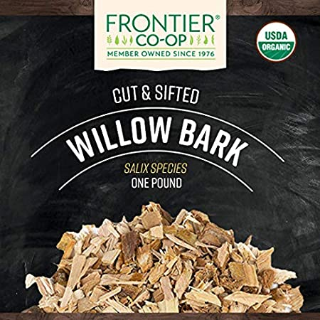 Frontier Co-op Willow Bark, Cut & Sifted, Certified Organic, Kosher,  Non-irradiated   1 lb  Bulk Bag   Salix species
