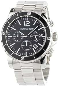 Michael Kors MK8140 - Reloj cronógrafo de cuarzo para hombre, correa de acero inoxidable chapado color negro (cronómetro)
