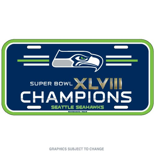 (Wincraft NFL Seattle Seahawks Super Bowl 48 Champ Plastic License Plate Frame, Team Color, One Size)