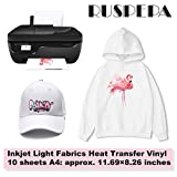 #4: RUSPEPA 11.69 x 8.26 inches Inkjet Printable Transfer Paper Iron-On Light Fabrics Heat Transfer Vinyl A4 Sheet for T-shirts, Bag, Hats and Clothes, 10 Sheets