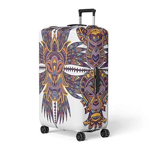 Semtomn Luggage Cover Colorful African Tribal Mask and Aztec Geometric Latin American Travel Suitcase Cover Protector Baggage Case Fits 22-24 Inch ()