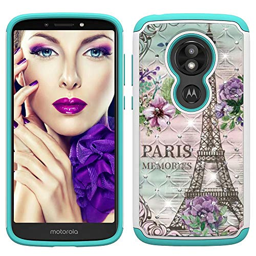 litter Bling Hybrid Dual Layer 2 in 1 Hard Cover Soft TPU Impact Armor Defender Protective Shockproof Diamond Case for Motorola Moto G6 Play/E5/G6 Forge Paris Eiffel Tower ()