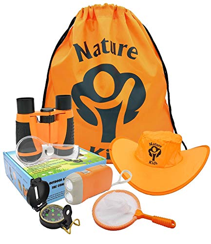 Adventure Kids - Outdoor Explorer Kit, Children's Toy Binoculars, Flashlight, Compass, Magnifying Glass, Butterfly Net & Backpack. Great Kids Gifts Set for Birthday, Camping, Hiking and Educational