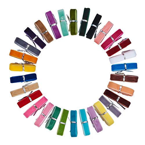 Velvet Ribbon Trim - PandaHall Elite 30 Pcs 5/8 Inch Single Face Velvet Ribbon 30 Colors for Gift Package Wrapping, Hair Bow Clips Making, Crafting, Sewing, Wedding Decorations Each 1 Yards