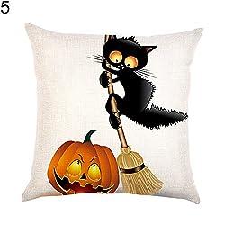 40x40cm Pillow Case Home Fashion Linen Pillowcase Black Cat Pumpkin Witch Decorative Pillow Case Thread Doll Zipoer Unicorn Knit Breakage Lounger Organic Memory Pack Sheet Pink Purple Chri