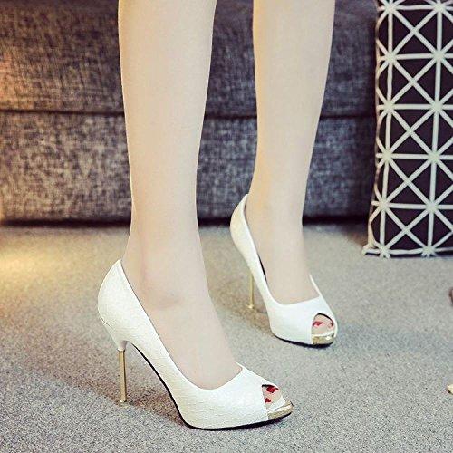 味方ヒギンズクロニクル春と夏の女性は、魚口のスチールトを指して黒と白のヘビのパターンファッションナイトクラブの作業靴 DYY