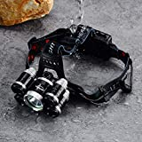 LED Headlamp, Super Bright 5T6 Brightest Waterproof,Rechargeable Headlight Flashlight for Safety cap hook Hiking,camping,running ,Cycling,Cree headlamps,18650 Batteries Charger (4x Safety cap hook)