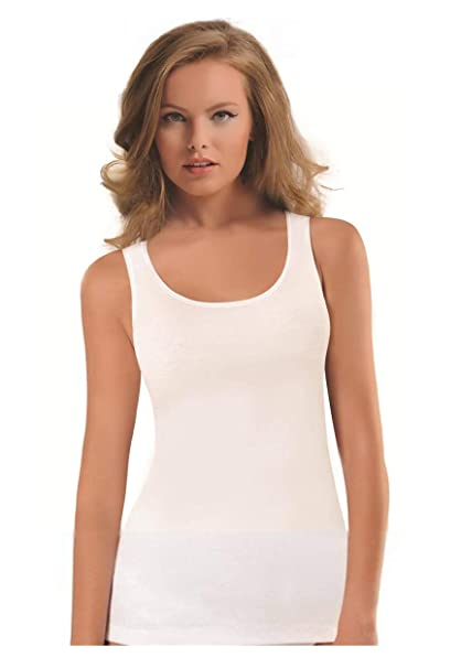 ae4d1bad3b1fb3 NBB Womens Sexy Basic Solid Cotton Jersey Tank Top Lingerie with Stretch,  White, Small