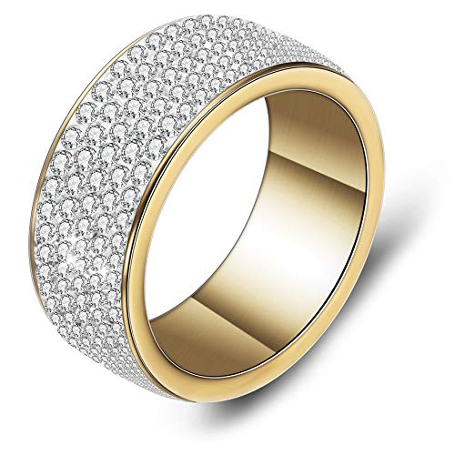 Tuji Gorgeous Gold-plated-stainless Womens 5 Rows Clear Crystal Eternal Wedding Band (7)
