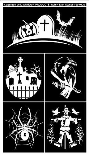 Armour Products Etch Rub N Etch Stencil, 5-Inch by 8-Inch, Halloween 1