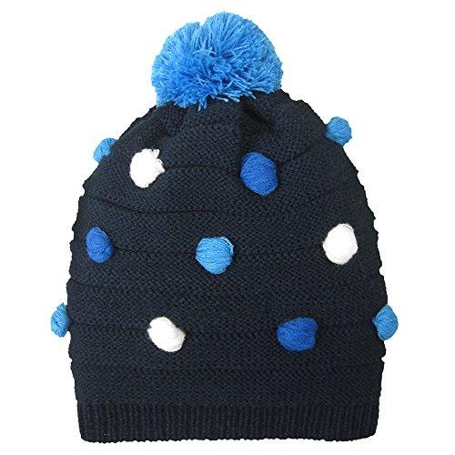 Igloos Girls Bubble Stitch Hat, Black Iris/Parisian Blue, Small/Medium (4-6x)