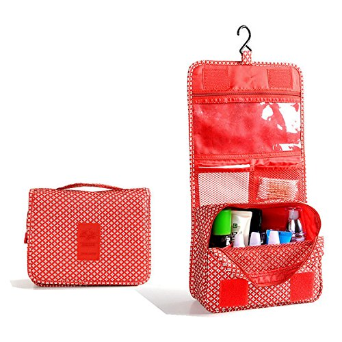 Itraveller Portable Hanging Toiletry Bag/ Portable Travel Organizer Cosmetic Bag for Women Makeup or Men Shaving Kit with Hanging Hook for vacation (Red)