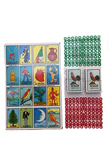 Loteria Mexican Bingo Game Kit -Set of 20 Jumbo Boards - Mexican Edition Bingo Game for 20 Players - With 2 Decks of Cards and Boards - Includes 240 Free Markers - Great for Improving Spanish