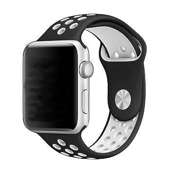 LeeHur Apple Watch Correa 38mm Flexible y Transpirable, Correa de Reemplazo Silicona Suave con Hebilla Ajustable para Reloj iWatch Nike Serie, Banda ...