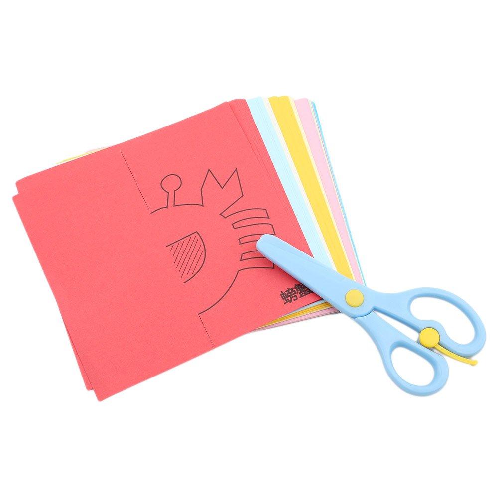 Hengxing Scissor Skills Activity Book mit Zwei kindersicheren Scheren f/ür Vorschulerzieher