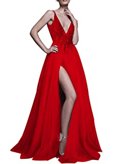 Hear Womens V Neck Long Prom Dresses Backless Party Evening Dress