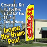 Cheap FRESH HOT DOGS (Yellow) Flutter Feather Banner Flag Kit (Flag, Pole, & Ground Mt)