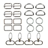 """Amornphan 20 Pcs 1"""" Inner Length Metal Sliding Bar Tri-Glides, D Ring Semi-Circular, O Rings, Rectangle Buckle Ring and Oval Ring Lobster Clasp Claw Swivel for Strap Hardware Bags (4Each) (Silver)"""