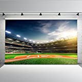 Mehofoto Green Baseball Photo Backdrop 7x5ft Customized Seamless Vinyl Photography Background Art Fabric Photo Booth Backdrops for Children Kids
