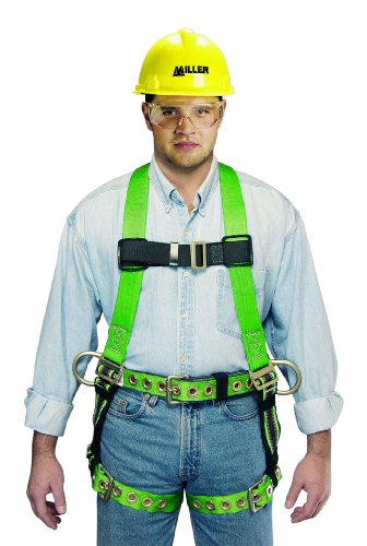Miller by Honeywell P950-77/XXLGN Duraflex Python Full-Body Ultra Harness with tongue Buckle Leg Straps and tool Belt Loops, XX-Large, Green