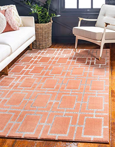 - Unique Loom Marilyn Monroe Glam Collection Textured Geometric Trellis Coral Silver Area Rug (5' 0 x 8' 0)
