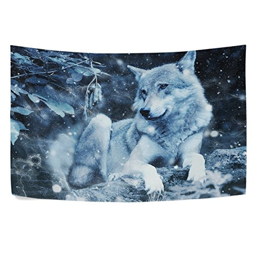 WIHVE Wolf Snowflake Night Wall Hanging Tapestry with Romantic Pictures Art Nature Home Decorations for Living Room Bedroom Dorm Decor in 90 x 60 Inches