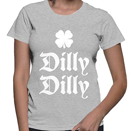 Women's Dilly Dilly Four Leaf Clover T-Shirt (Light Gray, Medium)