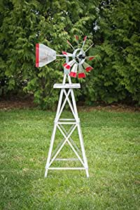 4 Ft Made in The USA Premium Aluminum Decorative Garden Windmill Green/Yellow Trim