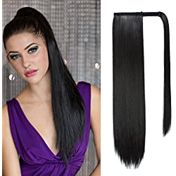 26 inch Long Straight Wrap Around Ponytail Clip in Hair Extensions One Piece Tie Up Ponytail Hairpiece for Girl Lady Woman (26 inch straight, 1# jet black)