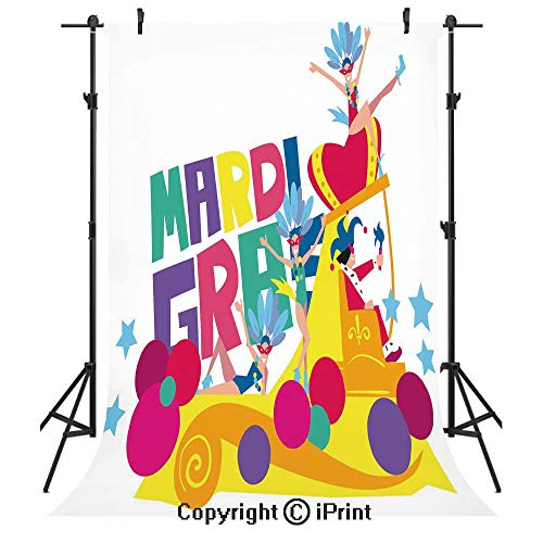 Mardi Gras Photography Backdrops,Festival Parade Theme Dancers in Costumes Colorful Dots Stars Abstract Design Decorative,Birthday Party Seamless Photo Studio Booth Background Banner 6x9ft,Multicolor]()