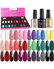 Lavender Violets Soak-off UV Gel Nail Polish Kit with Base Top Gel 18 Colors Nail Gel for Home Nail Salon Nail Art 997