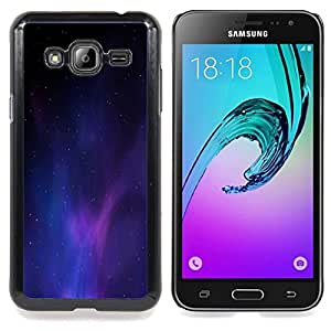 "Qstar Arte & diseño plástico duro Fundas Cover Cubre Hard Case Cover para Samsung Galaxy J3(2016) J320F J320P J320M J320Y (Universo púrpura azul claro Galaxy polvo"")"