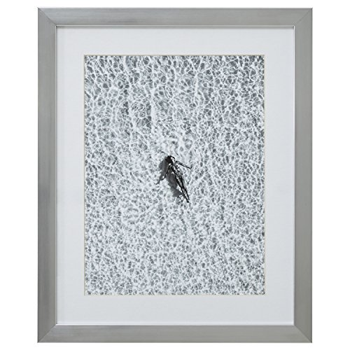 Modern Black and White Floating Woman, Silver Frame, 18'' x 22'' by Rivet