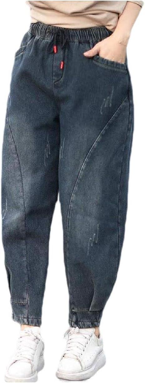 Romancly 女性カジュアルポケット厚いフリースウォッシュフォール冬のジーンズ