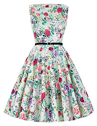 4ee21cd09721 Donna Anni line Festive Cocktail 40 Abiti Abbigliamento Maniche A Rockabilly   50 Floreale Vintage Swing Dress ...