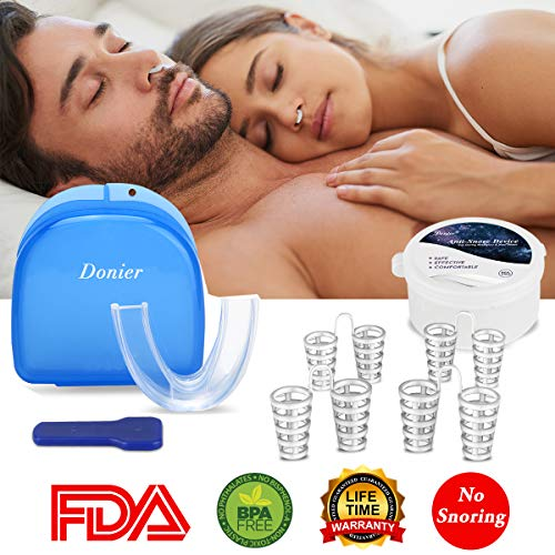 Mouth Device Snoring - Upgrade Anti Snoring Solutions Mouth Guard Device, 4 Set Snore Stopper Nose Vents Nasal Dilators Snoring Mouthpiece Solution Aids Snore Reducing Sleep Aid Device Stop Snoring Anti Snoring Devices
