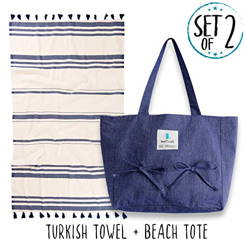 Designer 100% Tote Cotton - WETCAT Turkish Beach Towel with Matching Beach Tote (16 x 14) - 100% Cotton Summer Bag with Towel Holder, Carrying Strap & Interior Pocket - Washer-Safe, Stylish Design (Large + Bag, Navy)