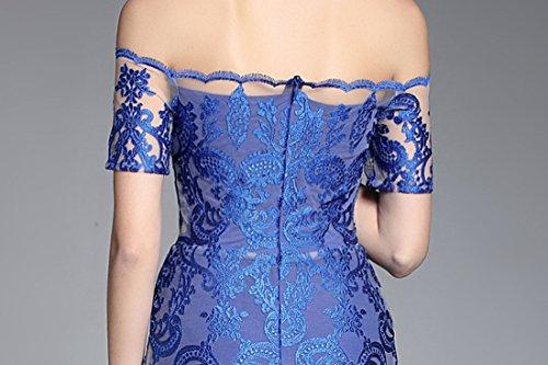 Women's Long Formal Fit cotyledon Off Blue Dresses Gowns Lace Shoulder Slim Short Prom Evening Sleeve UAZdzq