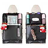 "Kick Mats Car Seat Back Organizer for Kids MATCC Seat Back Protectors 2 Pack XL with 1 Tissue Box Clear 10.6"" Ipad Holder and Waterproof Multi-Functional Storage Organizers"