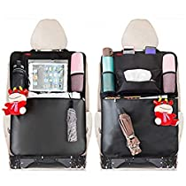 Kick Mats Car Seat Back Organizer for Kids MATCC Seat Back Protectors 2 Pack XL with 1 Tissue Box Clear 10.6 IpadHolder and Waterproof Multi-Functional Storage Organizers