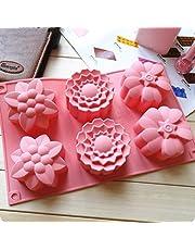 قوالب خبز للكب الكيك والمافن والكيك للفرن من السيليكون بتصميم 6 زهرات ثلاثية الابعاد ومناسبة للحرف اليدوية والصابون والشموع والشوكولاتة