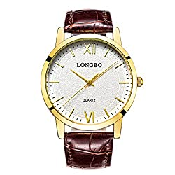 LONGBO Casual Men's Brown Croco Leather Band Analog Quartz Roman Numral Business Watch Gold Case Couple Dress Watch Waterproof Gold Hand White Dial Wristwatch For Man