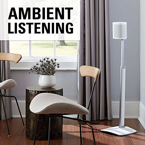 Sanus Height Speaker Stands Designed SONOS Play:1, Play:3 - Height Adjust with Cable Management - White - WSSA2-W1
